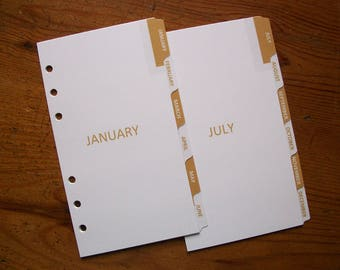 PERSONAL Size Monthly DIVIDERS - 'Gold' #748 - Fits Filofax - 12 tabs