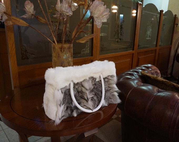 Fox fur tote shoulder handbag F856
