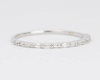 Petite Baguette Diamond Ring 14K Gold Thin Wedding Band Dainty Half Eternity Stacking Rings Stackable Engagement Set Unique Ring AD1374