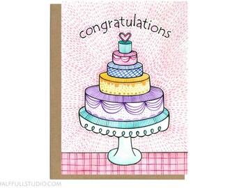 Wedding Congratulations Card, Wedding Congrats, Wedding Card Friend, Happy Wedding, Summer Wedding, Spring Wedding, Wedding Cake Card