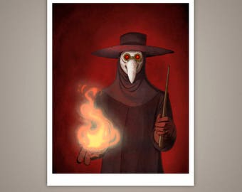 The Plague Doctor Giclee Illustration Art Print, 11x14, Black Death, Macabre, Halloween, Eerie, Fire, Medicine Man, Matte Finish, Home Decor