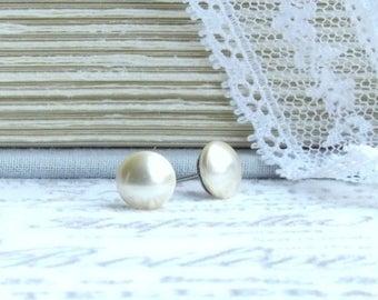 Cream Pearl Earrings Swarovski Pearl Earrings Cream Pearl Studs Surgical Steel Gold Pearl Studs