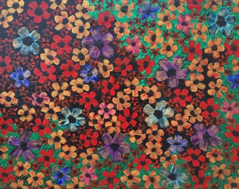 Debbie - Modern, Epoxy Resin, Flower, Pattern, Acrylic, Glitter, Canvas, Painting, Large, Sparkling, Colorful, Red, Gold, Green, Black, Art