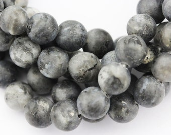 "2.0mm Large Hole Matte Larvikite Labradorite Round Loose Beads Size 8mm/10mm Approx 15.5"" per Strand"