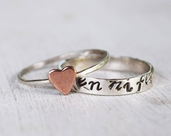 Rustic Hand Stamped Name Ring and Copper Heart Ring, Sterling Silver Set, Stacking Rings, Monogram Ring, Initial Ring, Mothers Day
