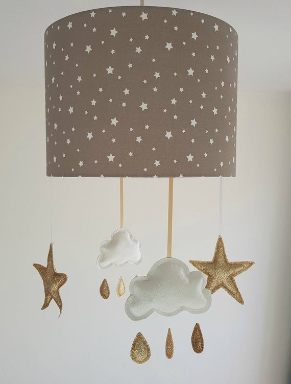 Star lampshade cloud nursery decor girl cloud mobile taupe mozeypictures Images