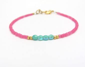 Pink Beaded Bracelet Turquoise Blue Dainty Minimal Colorful Jewelry, Gift for Mom Daughter Sister Teen Tween Woman, Hawaiian Jewelry