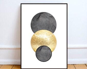 """Instant Download, printable art, Scandinavian art, circle poster print, Scandinavian circle print, gold circle art - """"Scandi gold circle""""."""