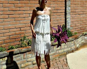 Rustic Wedding Dress-Country Wedding Dress-Boho Wedding Dress-One of a Kind Hand Cut Layered Fringe Charlize Wrap Skirt-Chic Modern Bride