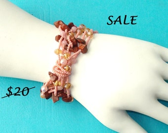LAST ONE! Pink Jasper and Glass Beaded Layered Arm Party Stretch Bracelet - CLEARANCE