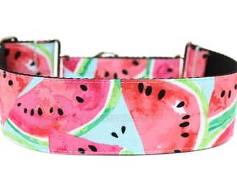 "Watermelon Dog Collar 2"" wide Martingale Dog Collar for Large Breed Dogs Summer Dog Collar Fruit Dog Collar"
