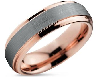 Rose Gold Mens Wedding Band Brushed Silver Wedding Ring
