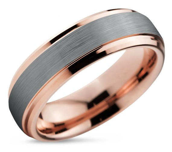 Rose Gold Wedding Band Brushed Silver Wedding Ring Tungsten