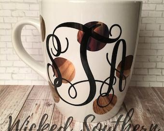 Monogram Mug- Gold Polka Dots- Jumbo Coffee Mug