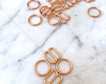 4 pieces – 8mm – of Rose Gold plated bra rings & sliders – for bra and swimwear making