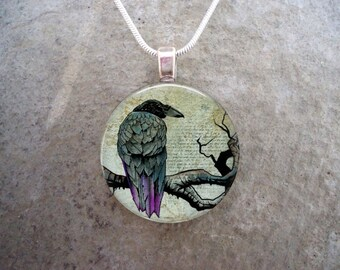Crow Jewelry - Bird Jewellery - Glass Pendant Necklace - Raven 19