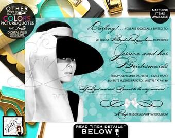 Bridal Luncheon Invites, Audrey Hepburn inspired bridal shower invitations, party printable invitation, blue theme wedding, DIGITAL, Gvites.