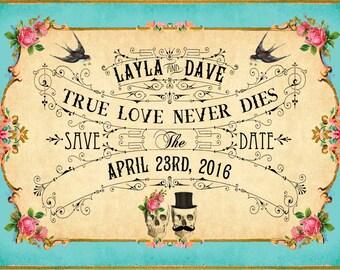 JEZEBEL - DIY druckbare speichern die Date-Karten - Digital Download - Boho Antik Art-Deco Skull Tag der Toten Jahrgang Hochzeit - personalisiert