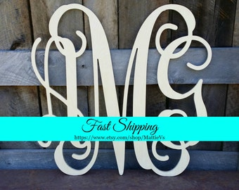 Wooden Initials - Unfinished Vine Script Monogram - Wood Letters - Monogram Home Decor - Monogram Wall Hanging - Monogram Door Hanger