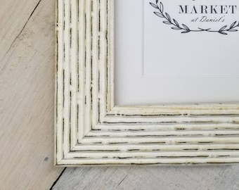 Cane Distressed Cream Wood Picture Frame with White Mat 8x10, 9x12, 11x14, 14x16, 16x20, 18x24 Standard and custom sizes available.