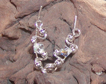 Ear Sweeps - Ear Climbers - Twinkling Swarovski Crystal Small Sterling Ear Sweeps - Silver Ear Sweeps - Crystal Ear Sweeps