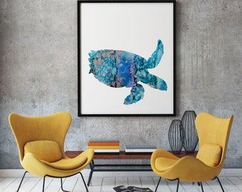 Sea Turtle Print Art Poster Sea Illustration Home Decor