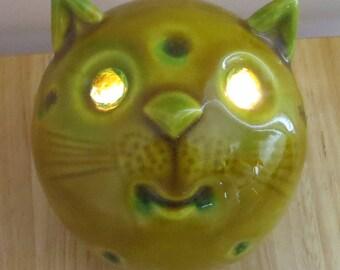 Mid Century Modern Ceramic Cat Night Light - Eyes Light - Italy