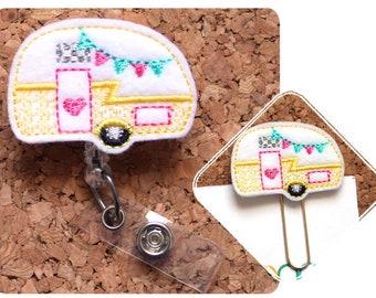 Camper Badge Reel ID Holder, Summer Felt Planner Paper Clip, Retractable Lanyard, Magnet, Bookmark, Cute Pin, ID Tag, Camping, 1708