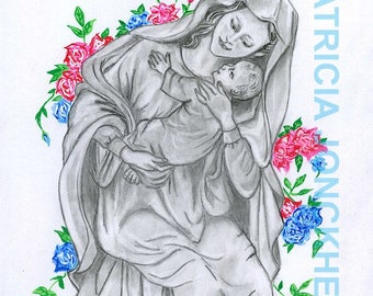 Madonna with Jesus child - drawing