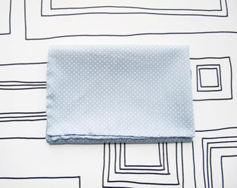 Soft pastel blue polka dots pocket square