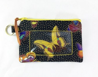 Butterfly Print ID Coin Wallet with Window, Black Print Change Wallet, Small Zip Wallet, Student ID Holder, Business Card Or Badge Holder