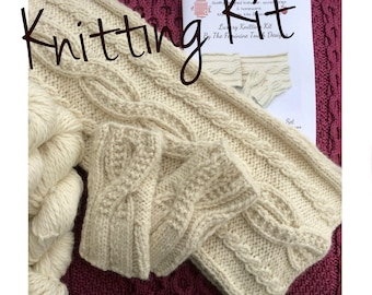 Luxury Cable Scarf and gloves knitting kit ,  Chunky Alpaca knit kit ,  diy kit , cable knit kit , diy gift for her , gift for knitters