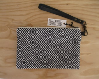 Black and White Diamond Clutch - Geometric Fabric with Detachable Black Leather Detachable Strap, Wristlet Bag