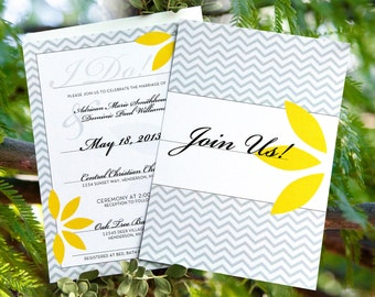Chevron Wedding Invitation Set: Grey and Yellow