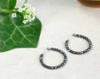 Saturn - Pure titanium hypoallergenic hoop earrings with hematite beads