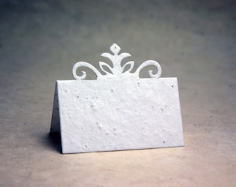 Crown Seed Paper Card Table Card - Place Card - Name Card - White Cotton Set of 16