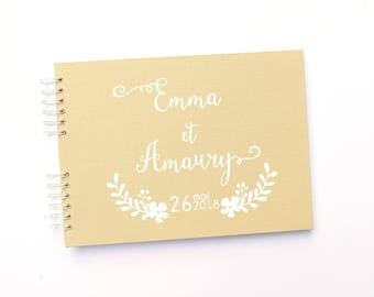 Livre d'or mariage bohème-mariage champêtre 50 pages- lin beige