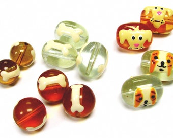 Hand Painted Doggies and Bones 12 to 18mm Glass Beads _12 Pieces