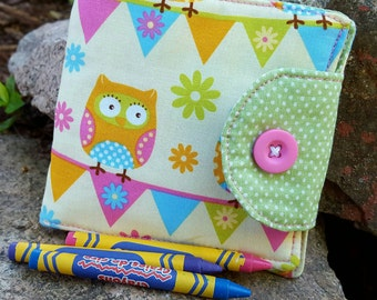 Owl Crayon Wallet, Girl's  Billfold, Crayon Holder, Crayon Roll