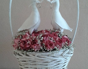 Wedding Doves with wedding rings of felt-Handicraft package
