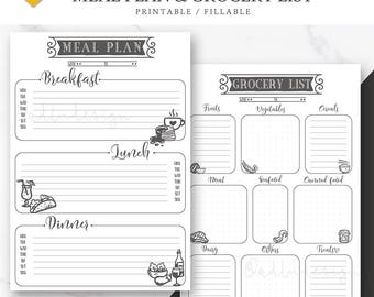 A6 Meal Plan & Grocery List PRINTABLE / Meal Planning / Menu Plan / Shopping List / Bullet Journal Insert