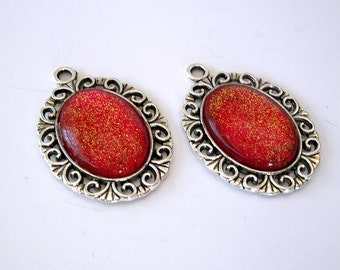 2-Vintage Style Red and Gold Glass Cabochon  Filigree Charm Pendant 25x20mm.