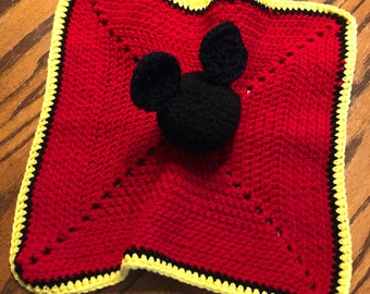 """New Mickey Mouse baby lovey/ security blanket 14"""" x 14"""""""
