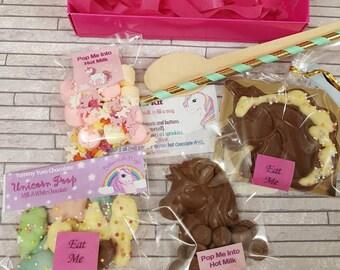 Unicornhotchocolatekitbox/loveunicorns/unicorns/hotchocolate/chocolatestirrer/chocolate/chocolategift/birthday/hotchocolatekit/ediblegift.