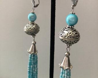 Sky Blue/Silver Tassel Earrings