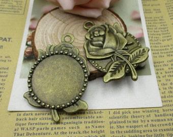 2pcs Antiqued Bronze 30mm (cabochon size)Rose Flower Bezel Pendants-b2171