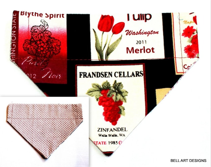 WINE LABELS ~ Over the Collar ~ Reversible ~ Dog Pet Bandana ~ Bell Art Designs ~ Extra Small ~ DCXS0193