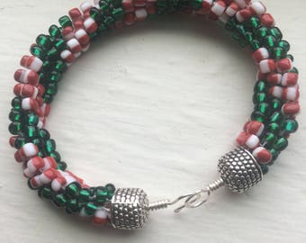Candy cane garland bracelet-green, red, and white striped bracelet