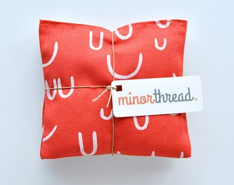 Organic Lavender Sachets in Arroyo AOU in Tomato Red and Natural Linen Set of 2 Lavender Scented Pillows Natural Home Mother's Day Gift