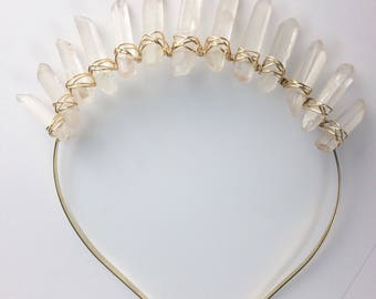 Frosted Princess Quartz Crown, frosted quartz crown, gold crystal crown, quartz crown, crystal headpiece, mermaid crown